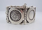 Hector Aguilar Symbols Vintage Mexican Silver Bracelet