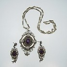 Vintage Mexican Silver Colonial Amethyst Necklace & Earrings