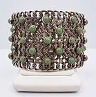 Far Fan Vintage Mexican Silver Turquoise Chain Bracelet Pre-1950
