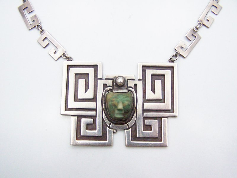 Victoria Vintage Mexican Silver Necklace Old Exceptional Carving