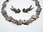 Los Castillo Vintage Mexican Silver Doves Necklace & Earrings # 552