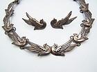 Los Castillo Vintage Mexican Silver Doves Necklace & Earrings # 552