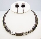 Enrique Ledesma Vintage Mexican Silver Obsidian Necklace & Earring