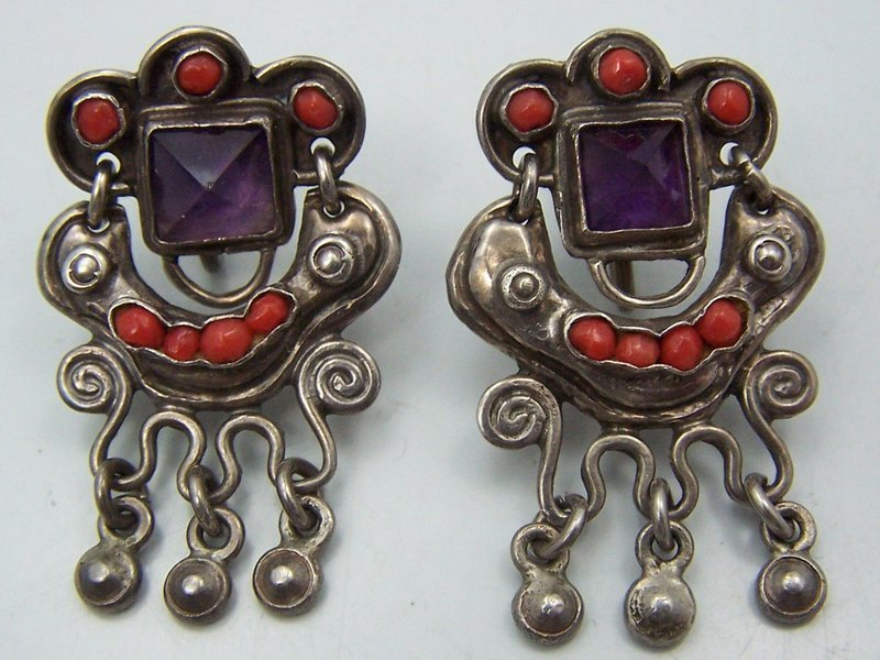 Old Matl Matilde Poulat Vintage Mexican Silver Dangle Earrings
