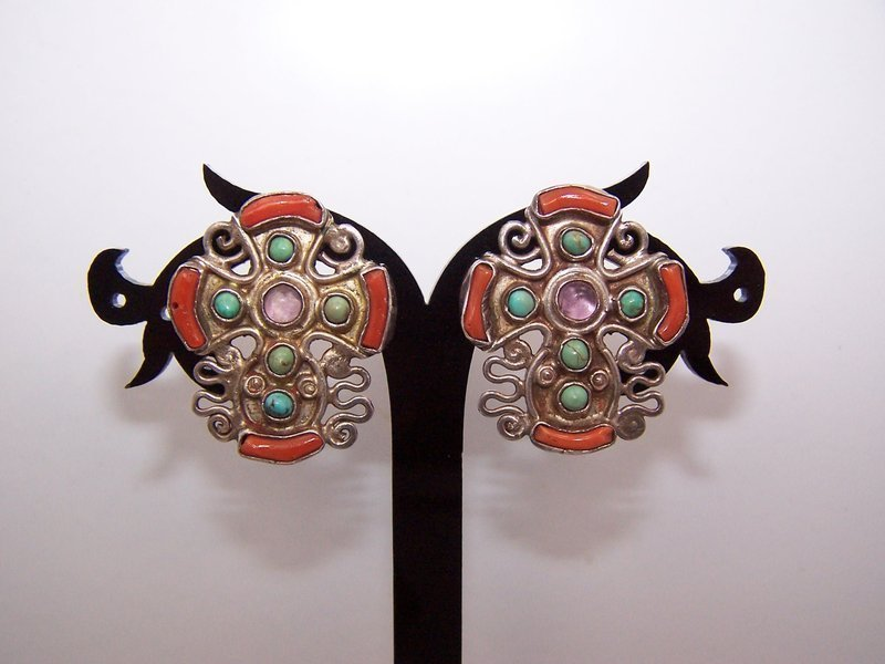 Matl Matilde Poulat Vintage Mexican Silver Rare Old Cross Earrings