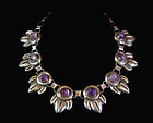 National Vintage Mexican Silver Necklace With Amethyst Stones