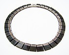 Enrique Ledesma Vintage Mexican Silver Obsidian Necklace