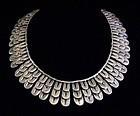 Very Rare Los Castillo Aztec Design 482 Mexican Silver Necklace & Ears