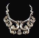 Ornate Gerardo Lopez Mexican Silver Pectoral Necklace