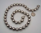 "Vintage Mexican Silver Huge Beads Necklace 24 "" Long"