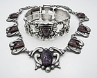 Far Fan Vintage Mexican Silver Carved Amethyst Bracelet