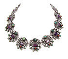 Dominguez Vintage Mexican Silver Multi Stones Necklace