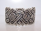 Spratling Mexican Silver Deeply Carved Glyph Symbols Bracelet Cuff