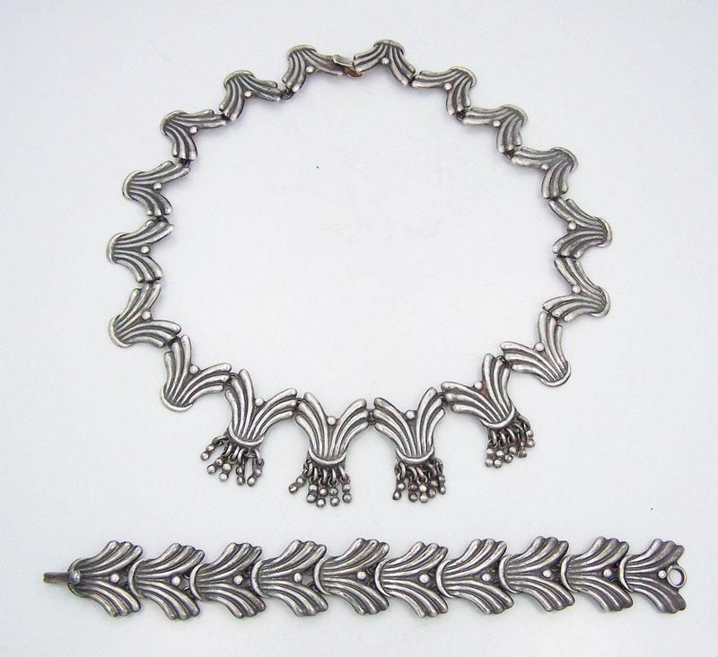 Signed APA Bracelet Necklace Vintage Mexican Fringed Silver Set