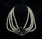 Sigi Pineda Vintage Mexican 4 Silver Pearl Strand Necklace Obsidian