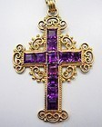 Rivera Vintage Mexican 18Kt Gold & Amethyst Cross Pendant