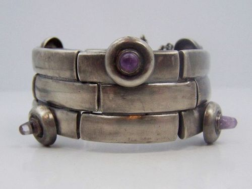 William Spratling Amethyst Teat Vintage Mexican Silver Bracelet