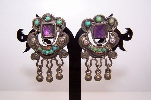 Matl Matilde Poulat Jeweled Mexican Silver Earrings