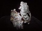 Fabulous Dragon Vintage Mexican Silver Bracelet