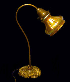Fine Quezal Glass Desk Lamp, C.1910