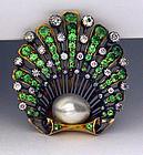 Antique Demantoid, Diamond natural Pearl Brooch England