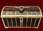 Erhard & Sohne Brass and Burl Wood inlay Jewellery Box,