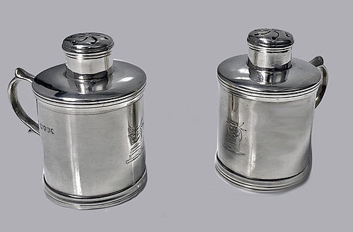 Pair unusual Silver Miniature Tankard Casters, London 1885