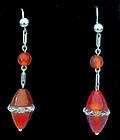 Art Deco Cornelian Gold rock crystal Earrings, C.1930