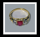Fine Antique Ruby and Diamond 18K Ring, English C.1875.