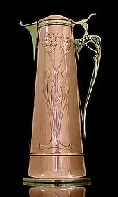 Art Nouveau Copper and Brass Wine Jug, Germany C 1905