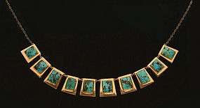 Turquoise and 14K Necklace, C.1960.