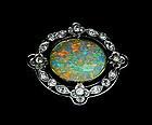 Murrle Bennett Platinum 18K Opal Diamond Brooch C.1910