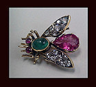 Suffragette colours Bee Diamond Gem 18K English C.1910