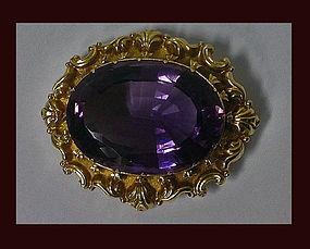 Large Amethyst Gold Brooch, England C.1850