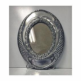 W.M.F Art Nouveau Silver Plate large oval Frame, German