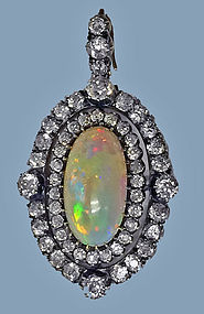 Fine Opal and Diamond Pendant, English C.1880