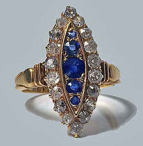 Antique Sapphire and Diamond 18K navette Ring, English C.1896