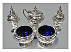 English Silver Arts & Crafts Condiment Set, Birmingham 1923, Henry Mat