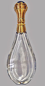 French Gold and Lapis Lazuli glass scent bottle, C.1880