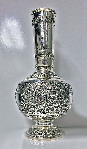 Unusual large Silver Vase, C.1880-1900, possibly Indonesia
