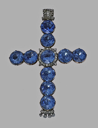 Georgian 18th century Diamond, Gold, blue stone large Crucifix Cross