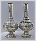 Pair Rare form Antique Silver Casters, London 1844, Joseph & John Ange