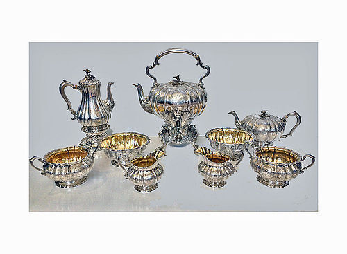 Garrard large 9 piece Tea and Coffee Service London 1839-42 Fitted Box