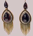 Antique 15K Gold Garnet tassel Earrings, English C.1875.