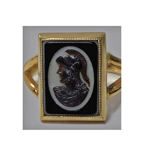 Antique 14K hardstone Cameo Ring, C.1900
