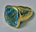 ARA 22K handmade large blue topaz Ring, 20th century
