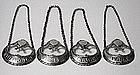 Hester Bateman 4 Georgian Silver Wine Labels,  C.1780