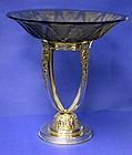 Christofle Art Deco Silver Plate & Glass Centrepiece