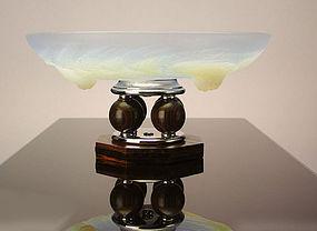 Art Deco Centerpiece Bowl French Etling Glass C.1930