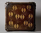 Rare lacquered table decorated with Nabeshima samurai crests. 18-19th